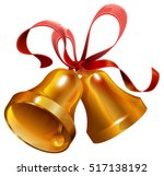 two gold christmas jingle bell... | Shutterstock .eps vector #517138192