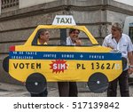 Small photo of 17 November. 2016. Creative taxi drivers protest against Uber at the streets of Rio de Janeiro - Brazil.