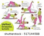 fitness  sports  girl performs... | Shutterstock .eps vector #517144588