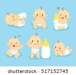 Stock vector set lovely baby cute with milk 517152745