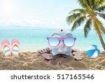 piggy bank with sunglasses... | Shutterstock . vector #517165546
