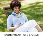 young woman using tablet in the ... | Shutterstock . vector #517179268