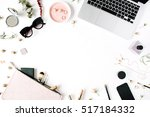flat lay  top view office table ... | Shutterstock . vector #517184332