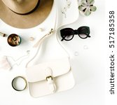 flat lay trendy creative... | Shutterstock . vector #517185358