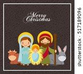 holy family manger scene. merry ... | Shutterstock .eps vector #517189096