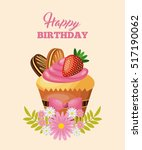 happy birthday card with sweet... | Shutterstock .eps vector #517190062
