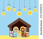 holy family in manger scene... | Shutterstock .eps vector #517193572