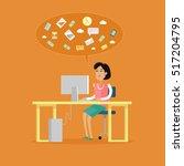 office work concept vector in...   Shutterstock .eps vector #517204795