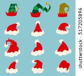 santa and elf hat isolated on... | Shutterstock .eps vector #517205896