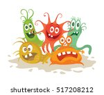 set of cartoon monsters. funny... | Shutterstock .eps vector #517208212
