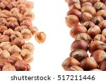 hazelnut and kernel border on... | Shutterstock . vector #517211446