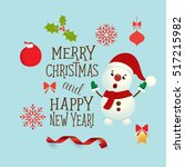 christmas greeting card with... | Shutterstock .eps vector #517215982