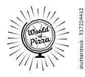 pizza globe in thin line style... | Shutterstock .eps vector #517224412
