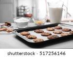 Freshly Baked Cookies On Tray