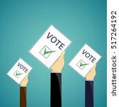 human hand with a ballot paper. ...   Shutterstock .eps vector #517264192