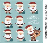 set of funny santa claus in... | Shutterstock .eps vector #517264582
