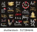 set of merry christmas text ... | Shutterstock .eps vector #517284646