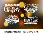 merry christmas   happy new... | Shutterstock .eps vector #517299475