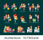 family and couple scenes.... | Shutterstock .eps vector #517301626