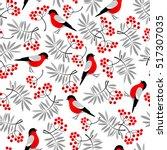 bullfinch birds seamless... | Shutterstock .eps vector #517307035