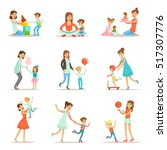 loving mother playing and... | Shutterstock .eps vector #517307776