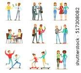 happy best friends having good... | Shutterstock .eps vector #517308082