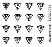 vector slise of pizza icon set   Shutterstock .eps vector #517317796