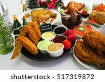 christmas food party with fried ... | Shutterstock . vector #517319872