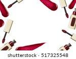 red lip gloss brush and... | Shutterstock . vector #517325548