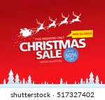 christmas sale. vector... | Shutterstock .eps vector #517327402