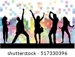 dancing people silhouettes.... | Shutterstock .eps vector #517330396