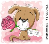 cartoon puppy with flower on a... | Shutterstock .eps vector #517330966