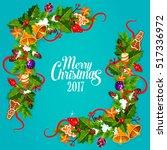 merry christmas 2017. greeting...   Shutterstock .eps vector #517336972