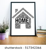 frame on desk with home word... | Shutterstock . vector #517342366