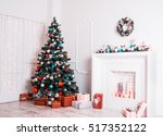 christmas living room with... | Shutterstock . vector #517352122