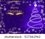 purple postcard merry christmas ... | Shutterstock .eps vector #517361962