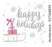 christmas card template. hand... | Shutterstock .eps vector #517368835