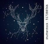 starry sky constellation deer | Shutterstock .eps vector #517388566