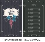 wine list menu with grapes and... | Shutterstock .eps vector #517389922