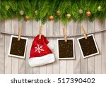 hristmas background with photos ... | Shutterstock .eps vector #517390402