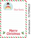 letter to santa with cute... | Shutterstock .eps vector #517390615
