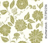 Stock vector seamless floral pattern green flowers on beige background 517392256