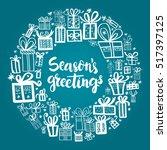 christmas card template. hand... | Shutterstock .eps vector #517397125