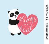 vector cute panda bear holding... | Shutterstock .eps vector #517401826