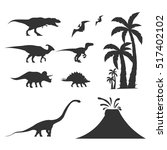 set world of dinosaurs.... | Shutterstock .eps vector #517402102