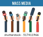 hands with a mic and recorder.... | Shutterstock .eps vector #517411966