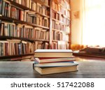 stack of books on table at... | Shutterstock . vector #517422088