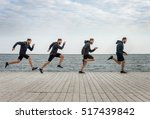 four men clones running in... | Shutterstock . vector #517439842