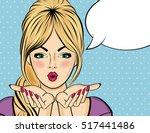 surprised pop art  woman .... | Shutterstock .eps vector #517441486