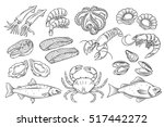 hand drawn seafood set.... | Shutterstock .eps vector #517442272